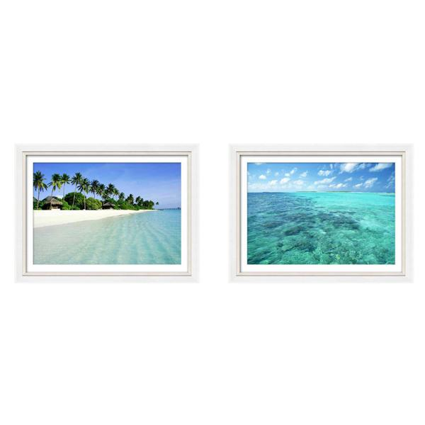 Silver and White Gloss Frame Beach Phototography Print set 2