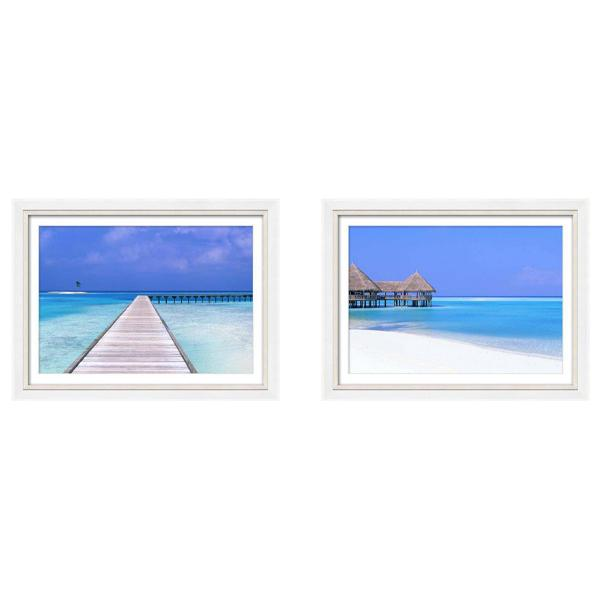 Silver and White Gloss Frame Beach Phototography Print set 3