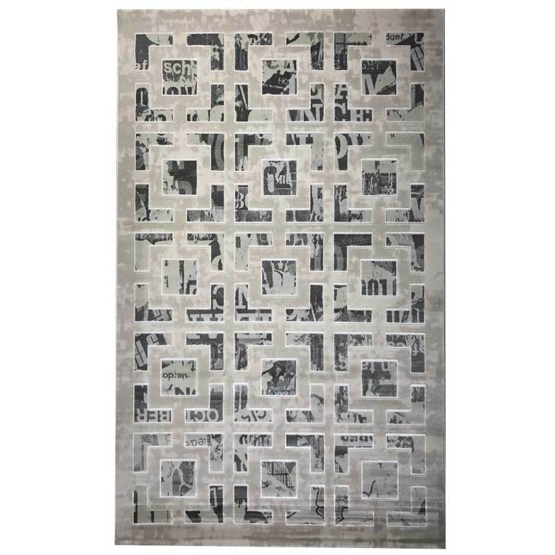 Arctic Luxury Floor Rug Warm Grey Geometric Pattern