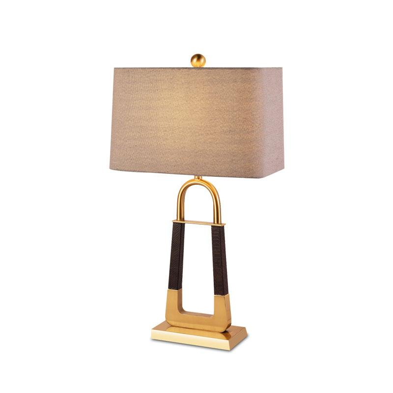 Baltimore Gold Frame Table Lamp with grey lamp shade