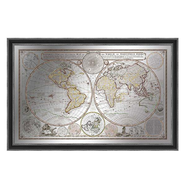 Black Frame Carlington Bowels Antique Map of the World Silver Print