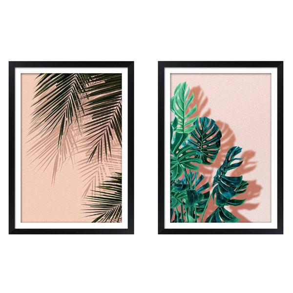 Black Gloss Frame Artwork Tropical Leaves art set 1