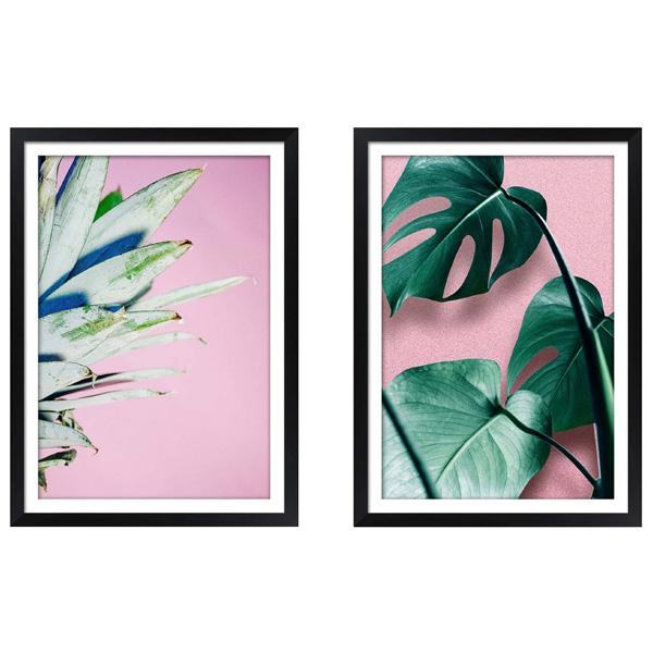 Black Gloss Frame Artwork Tropical Leaves art set 2