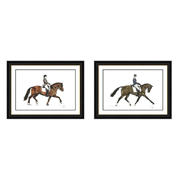 Black and Gold Frame Artwork Equestrian Dressage art set 1