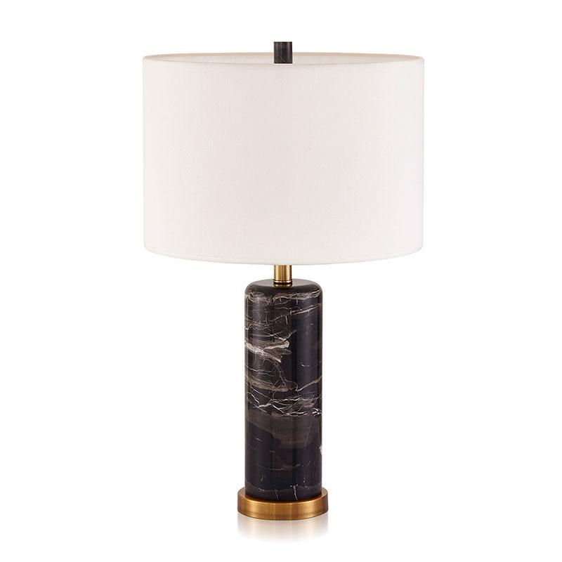 Bowery Black Marble with Copper detail Table Lamp with white lamp shade