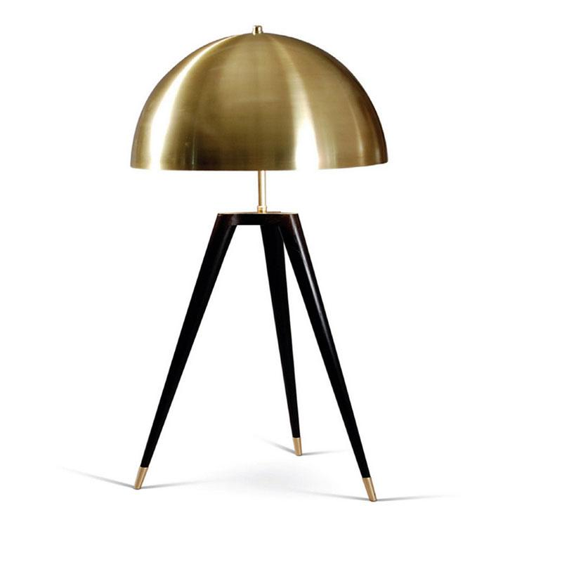 Castro Black Tripod Brass Dome Table Lamp