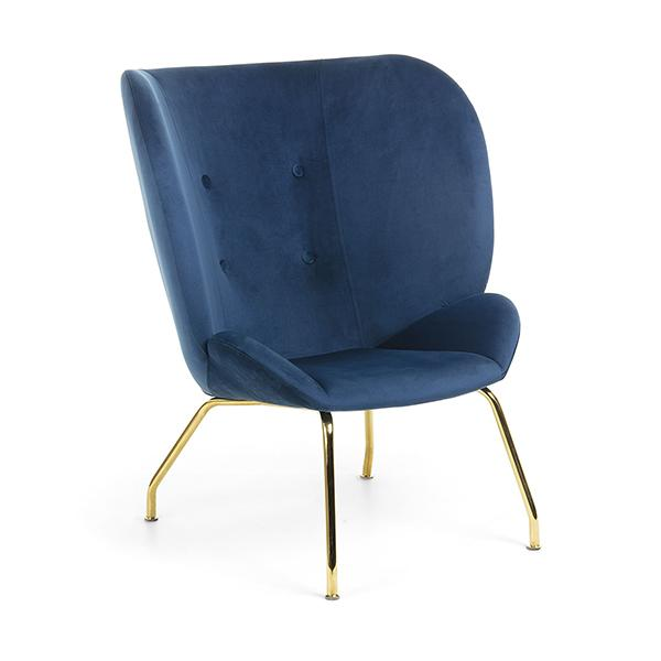 Chadwick Buttoned Back Occasional Chair - Blue Velvet