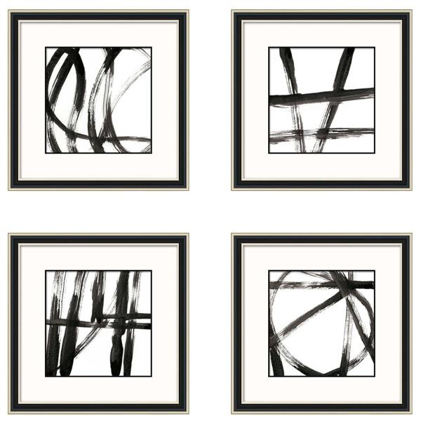 Champagne Gold and Black Frame Abstract Artwork Brush Strokes set 1