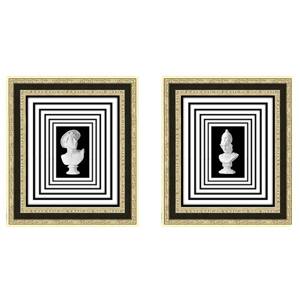 Champagne Gold Ornate Frame Infinity Square Roman Bust Art set 2