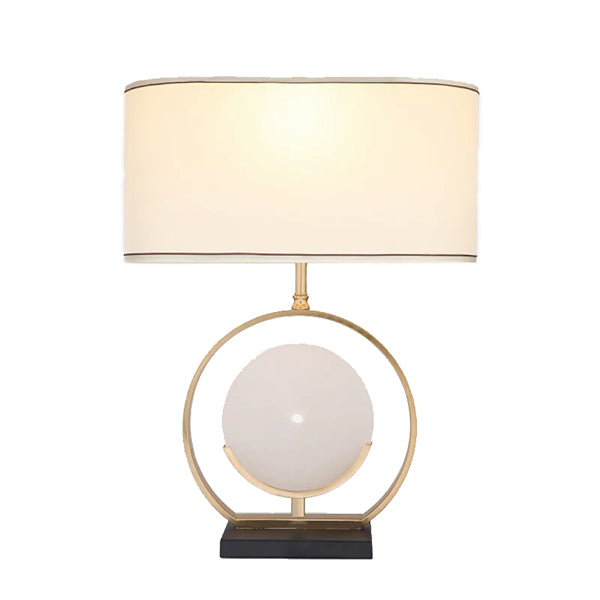 Cypress White Stone Circle in a Gold Frame Table Lamp with a White Lamp Shade