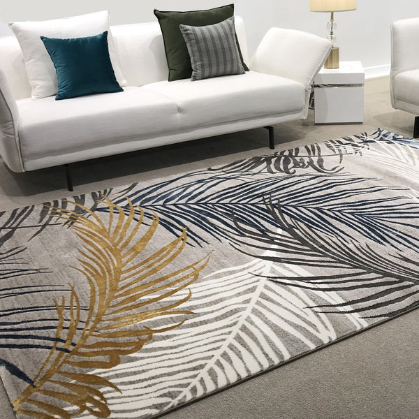 Florida Luxury Floor Rug with Crisp White, Bronze, Gold and Midnight Blue