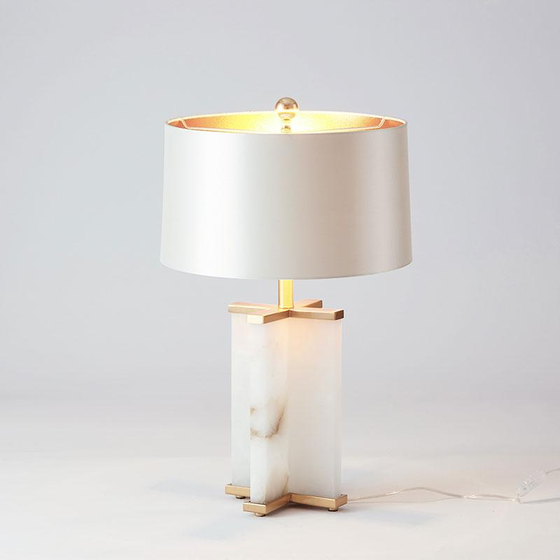 Freemont White Marble Cross and Gold Table Lamp