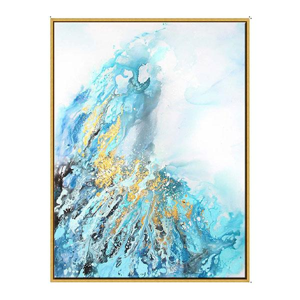 Gold Frame Abstract Oil Paint on Canvas The Eruption