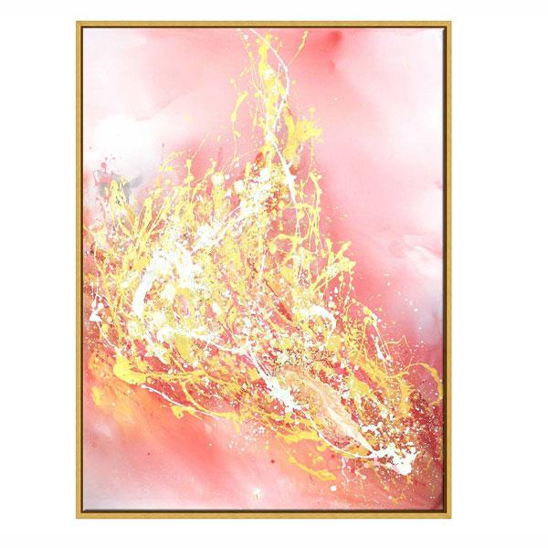 Gold Frame Abstract Oil Paint on Canvas Lava Flow
