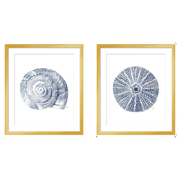 Gold Frame Artwork Sealife on Blue and White Acrylic art set 3