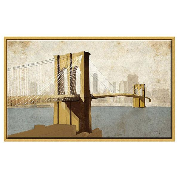 gold frame artwork brooklyn bridge new york