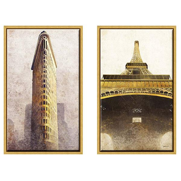Gold Frame Artwork Eiffel Tower and Flat Iron Building