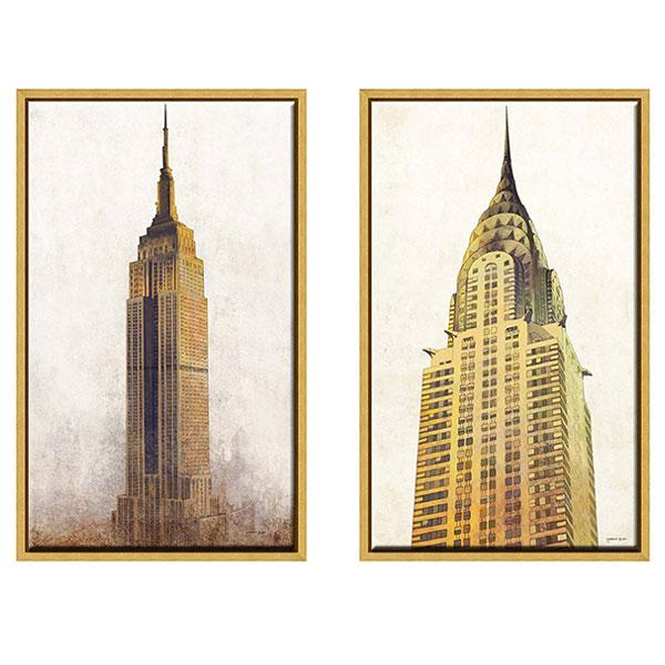 Gold Frame Artwork of Empire State and Chrysler Building