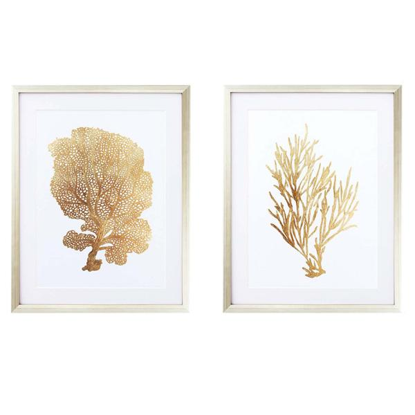 Gold Frame Artwork Gold Coral art set 2
