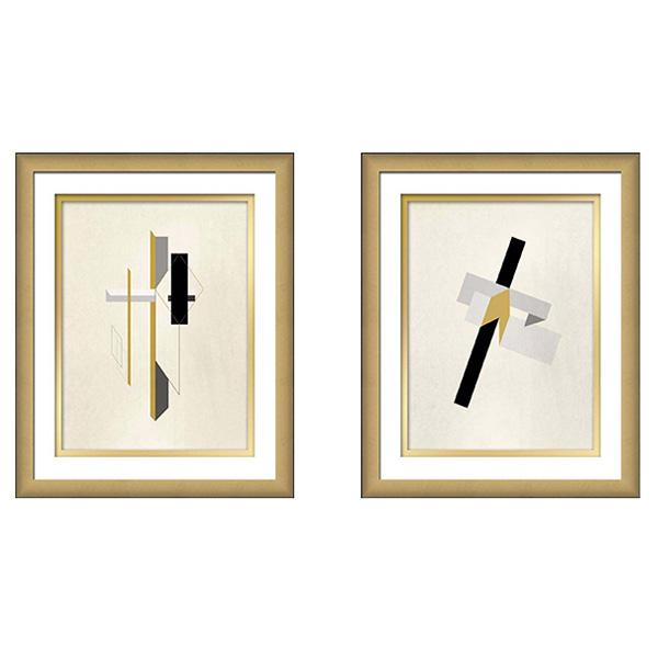 Gold Frame Black Edge Print Constructivist art set 3