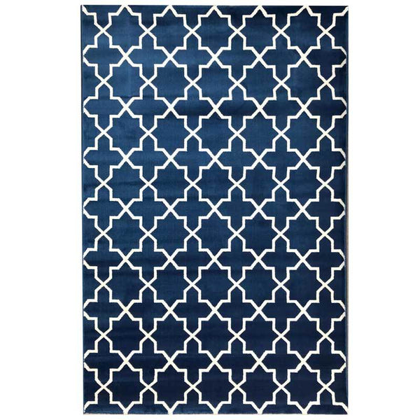 Hampton Luxury Floor Rug Blue and White Geometric Pattern