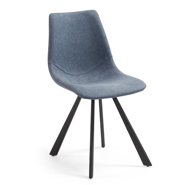 Henri Dining Chair - Dark Blue Synthetic Leather
