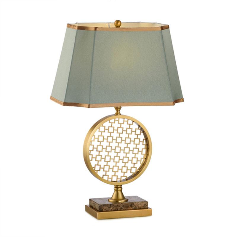 Kowloon Oriental Gold Frame Table Lamp with Eggs Shell Blue Lamp Shade
