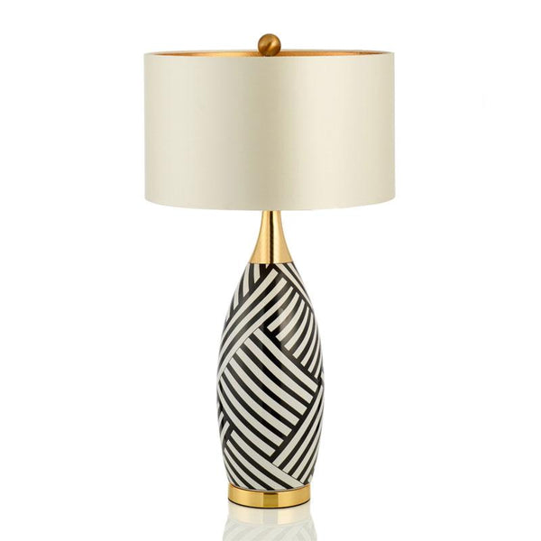Laurent Black White and Gold Table Lamp with off white reflective inside shade