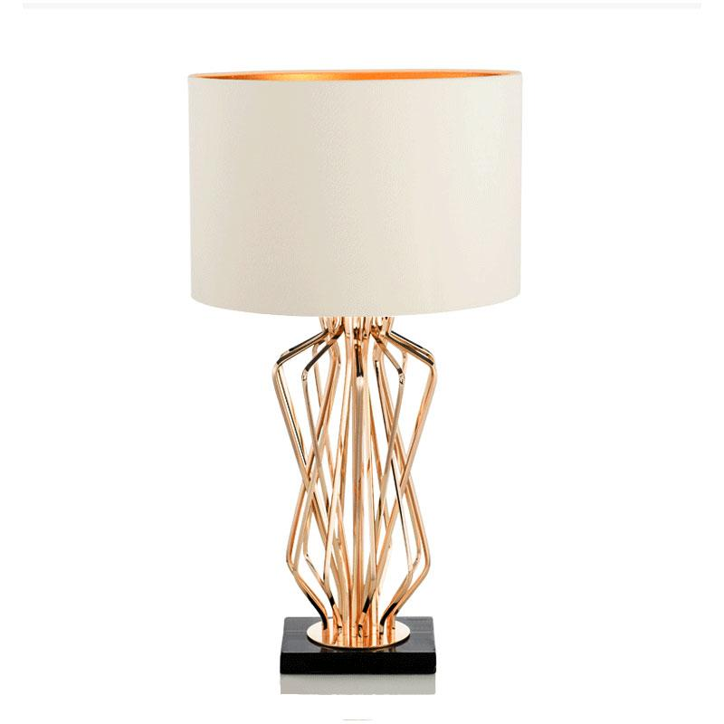 Lombard Gold Frame Black Marble Base Table Lamp with white lamp shade