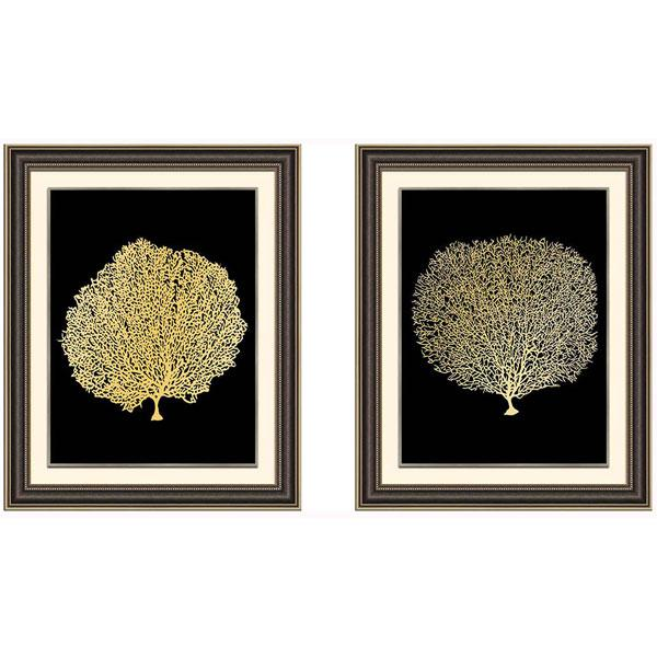 Timber Frame Gold Foil Print Fan Coral Art set 1