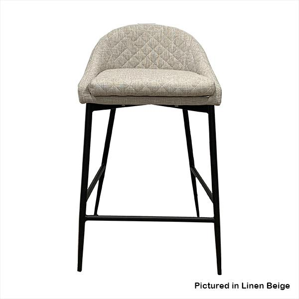 Kent Linen Bar Stool with Black Metal Legs