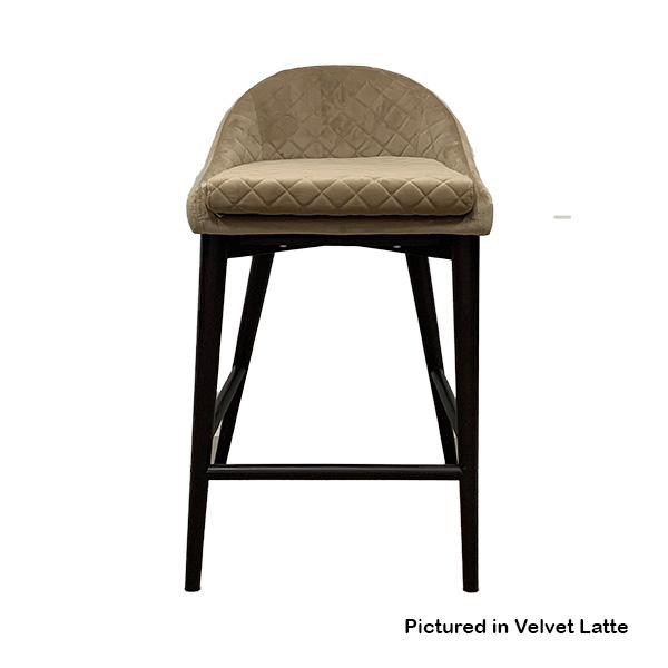 Kent Velvet Bar Stool with Timber Legs