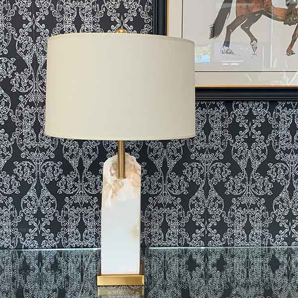 Madison Rock Crystal Table Lamp with white lamp shade