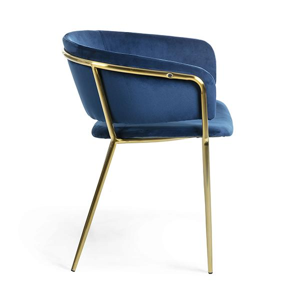 Naples Dining Armchair - Blue Velvet With Gold Metal Frame