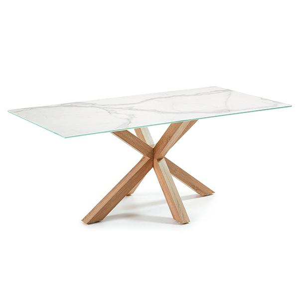 Verona Dining Table - Natural Timber Look Base With Kalos Bianco Ceramic Top