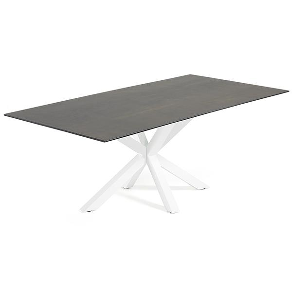 Verona Dining Table - White Base with Burnt Iron Ceramic Top