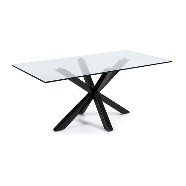 Verona Dining Table - Black Legs with Clear Glass Top