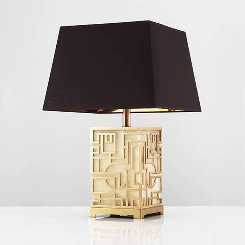 Mao White Marble and Oriental Gold Design Table Lamp