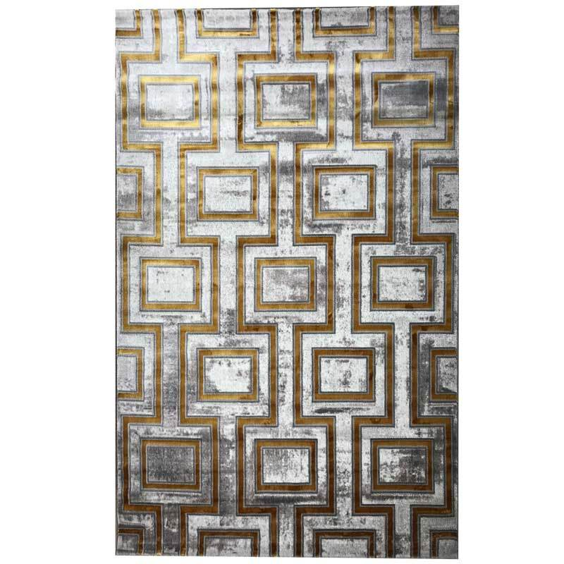 Mecca Luxury Silk Floor Rug with Gold and Grey Pattern