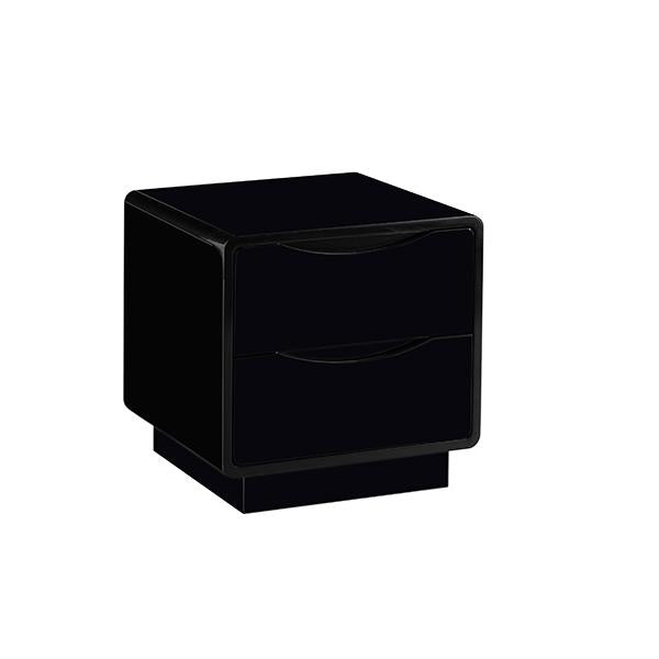 Modena Two Drawer Bedside Black Gloss