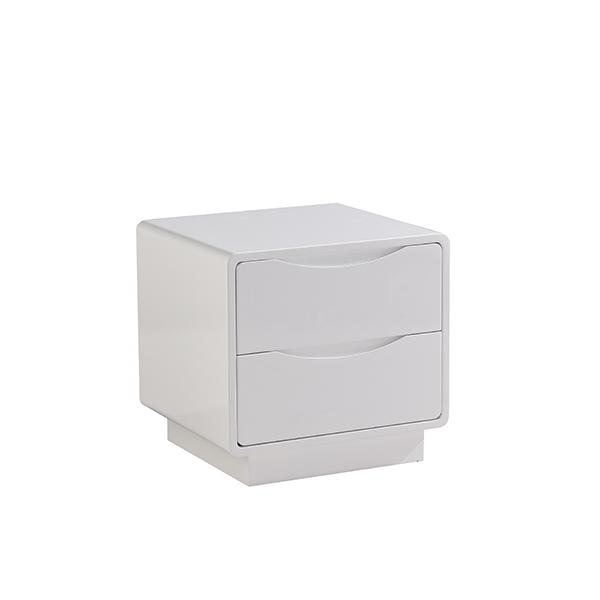 Modena Two Drawer Bedside Table  White Gloss