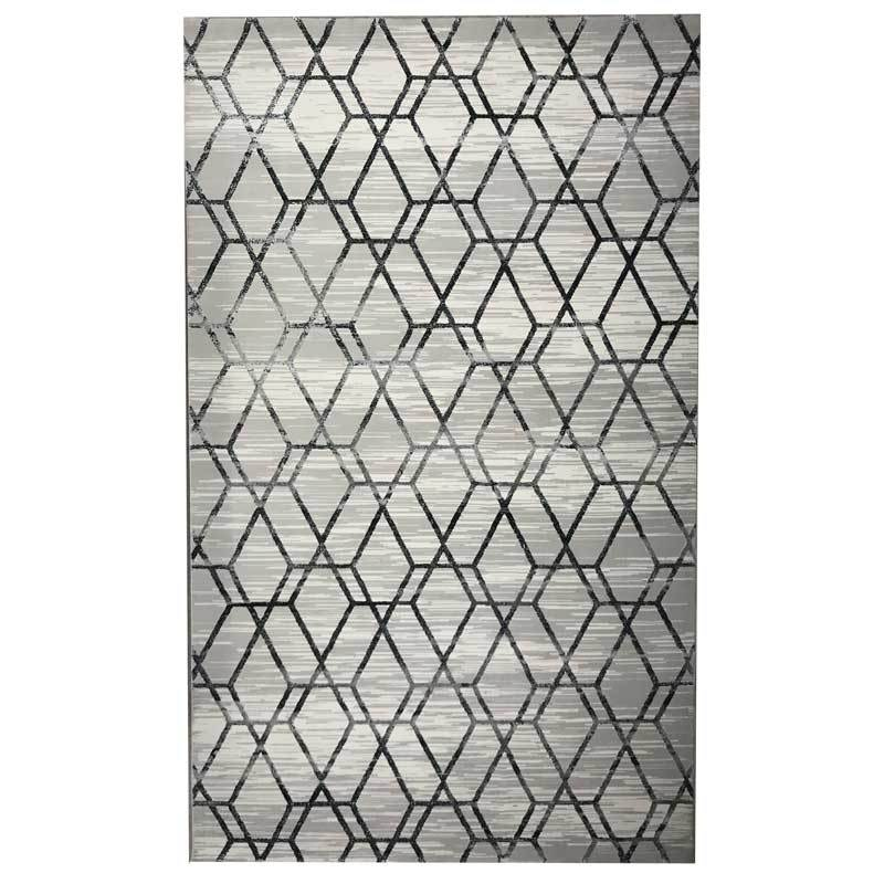 Monaco Luxury Floor Rug Grey Honeycomb Pattern