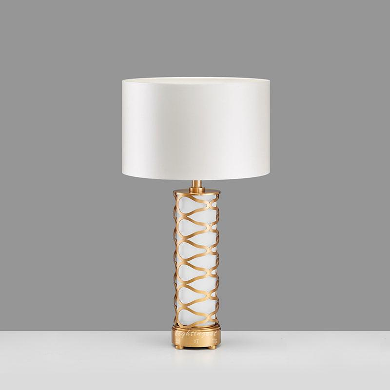 Palazzo White and Brass Table Lamp with white shade