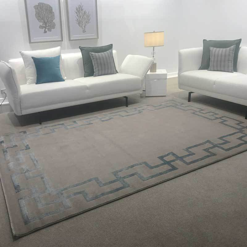 Shanghai Luxury Floor Rug Taupe with Blue SIlk Pattern