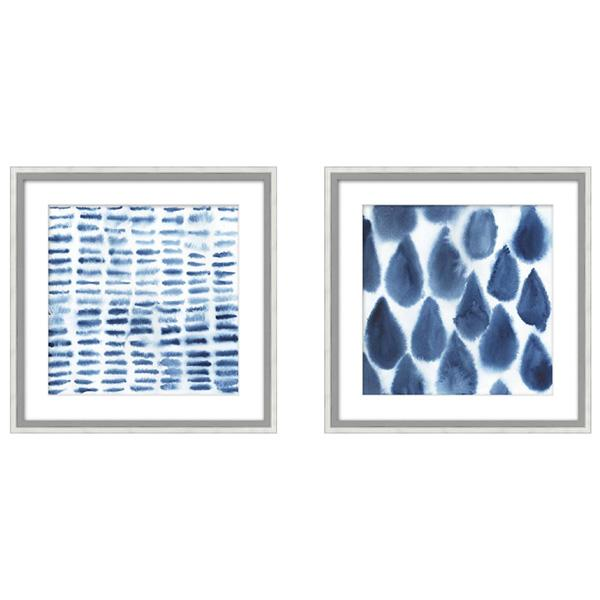 Silver frame abstract watercolour raindrops set 2