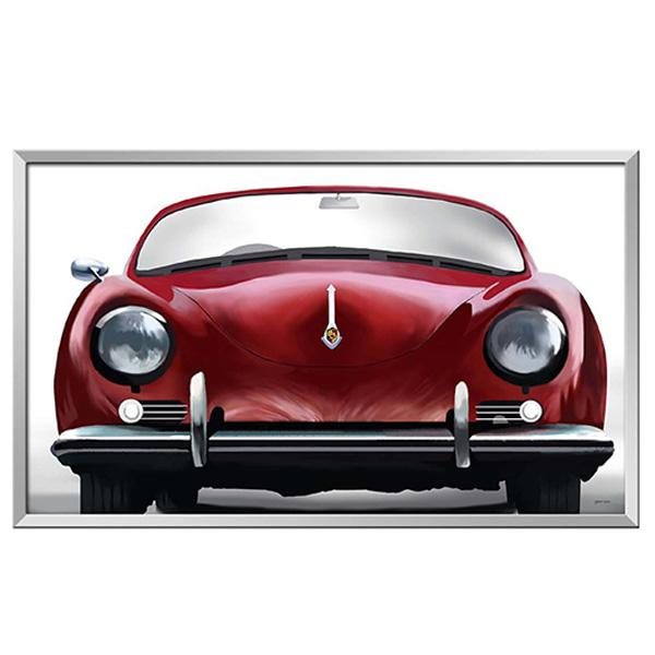 Silver Frame Artwork Red Porsche 365 Classic Car