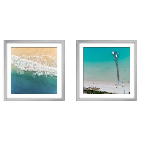 Silver Framed Aerial Beach Photography Print set 1