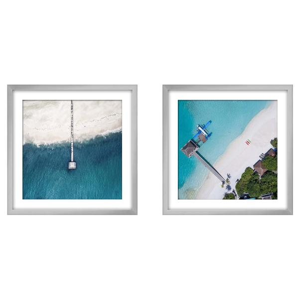Silver Framed Aerial Beach Photography Print set 3