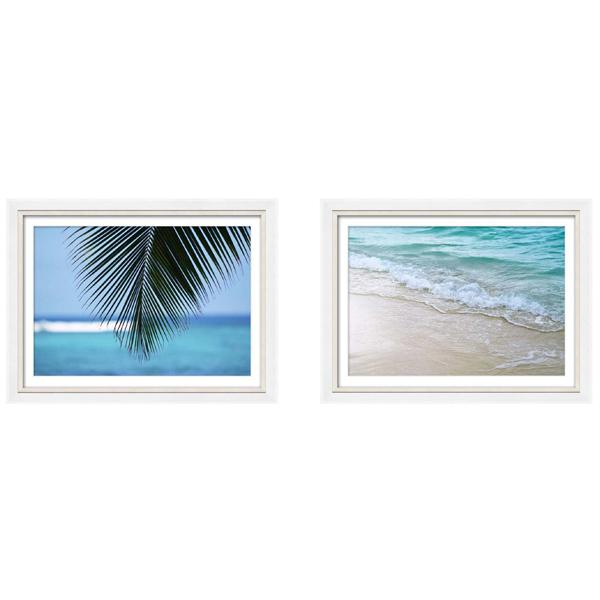 Silver and White Gloss Frame Beach Phototography Print set 1
