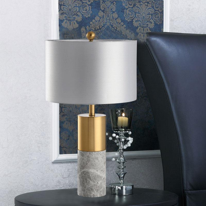 State gold and grey marble pedistal Table Lamp with satin silver shade